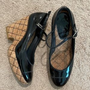 CHANEL -black quilted patten Mary Jane style wedge